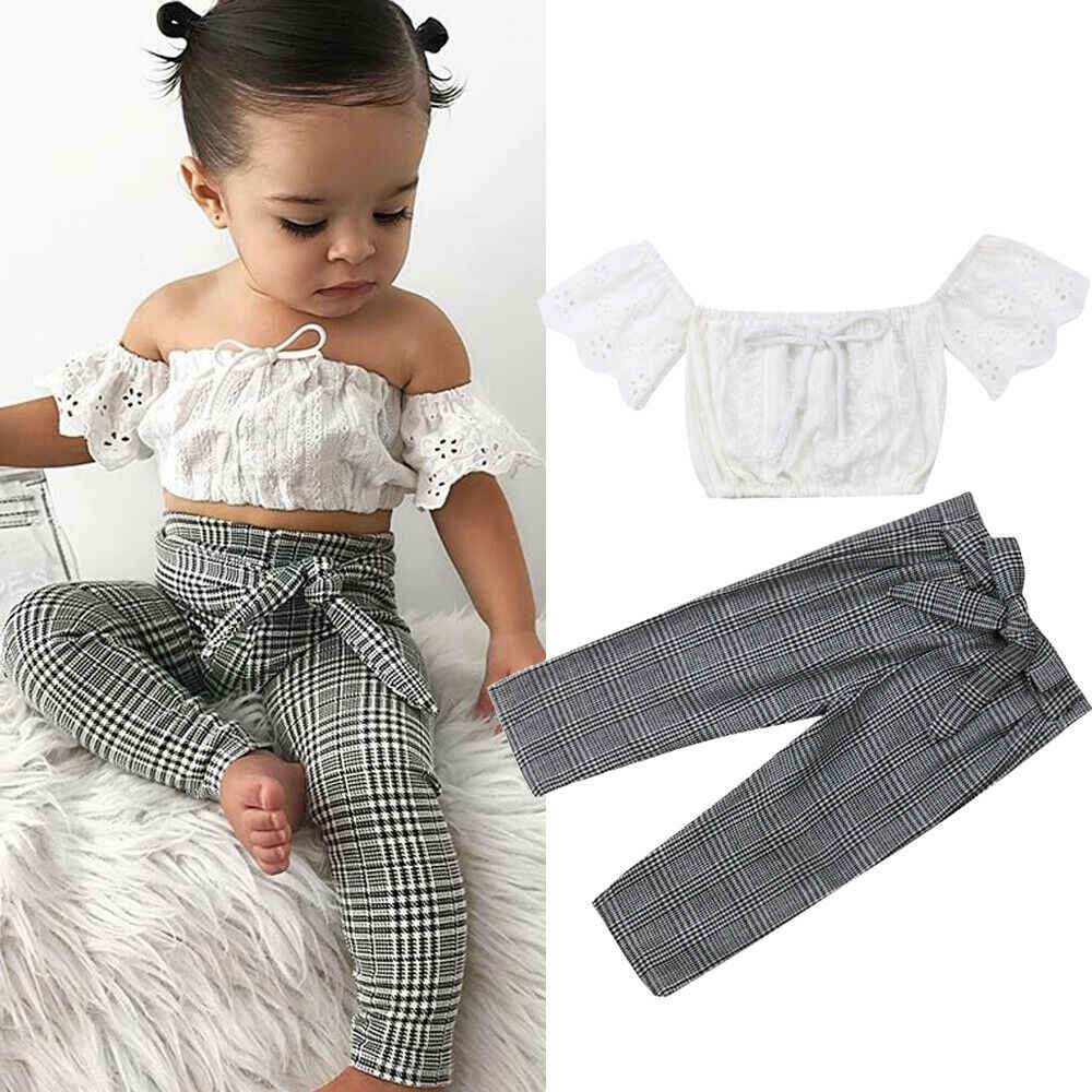 Jeans Autumn Winter Spring Outfits 2pcs Baby Girls Kids Clothing Set Long Lace Sleeve Pullover Sweater Tops