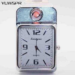 Gorąca zapalniczki zegarek męski zapalniczka bezpłomieniowa moda USB do ładowania na co dzień kwarcowe zegarki na rękę ze stali nierdzewnej prezent dla mężczyzny F777 w Zegarki kwarcowe od Zegarki na