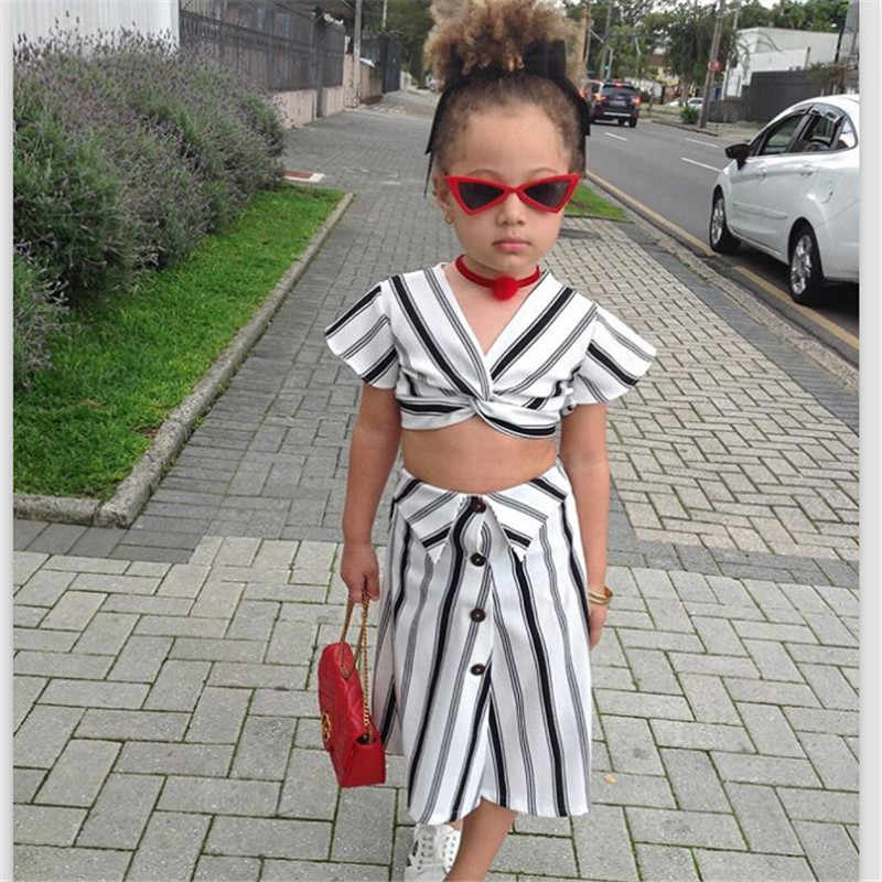 3b86f068d9 ... pudcoco New Fashion girl Clothes set summer black and white striped  crop tops skirt bebe girls ...