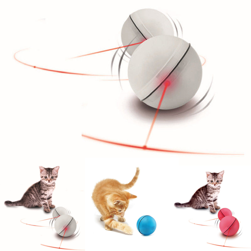 Pet Cat Toys LED Laser Red Light Electronic Rolling Balls  Keep Your Busy Cat Interactive Laser Ball Electric Toys