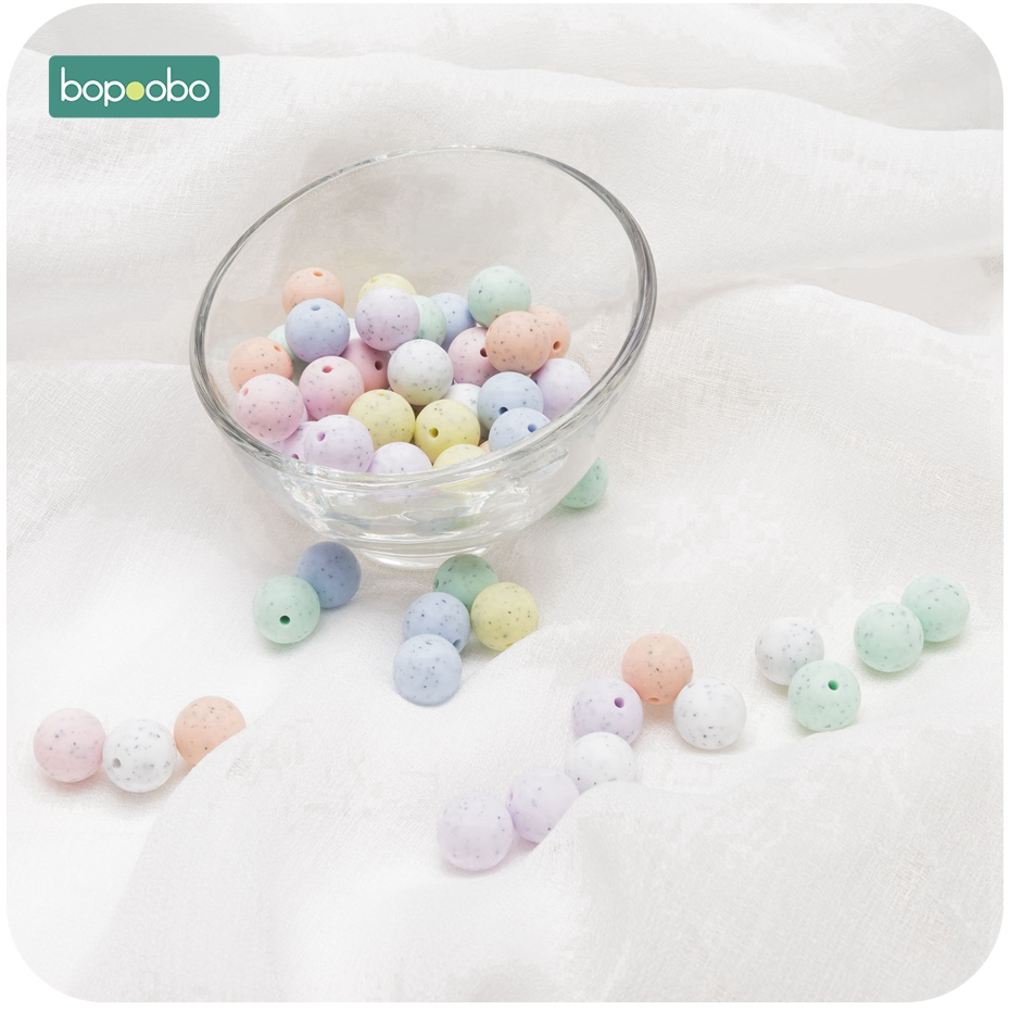 Bopoobo 100PC Silicone Beads 12mm Food Grade Silicone Teether Children Training Toys Safe And Natural Silicone Beads Ecofriendly