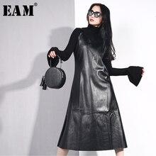[EAM] 2019 New Spring Summer Spaghetti Strap Sleeveless Hem Vent Black Loose Pu Leather Dress Women Fashion Tide All-match JO2
