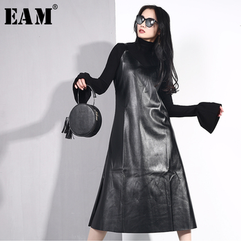 [EAM] 2019 New Spring Summer Spaghetti Strap Sleeveless Hem Vent Black Loose Pu Leather Dress Women Fashion Tide All-match JO2