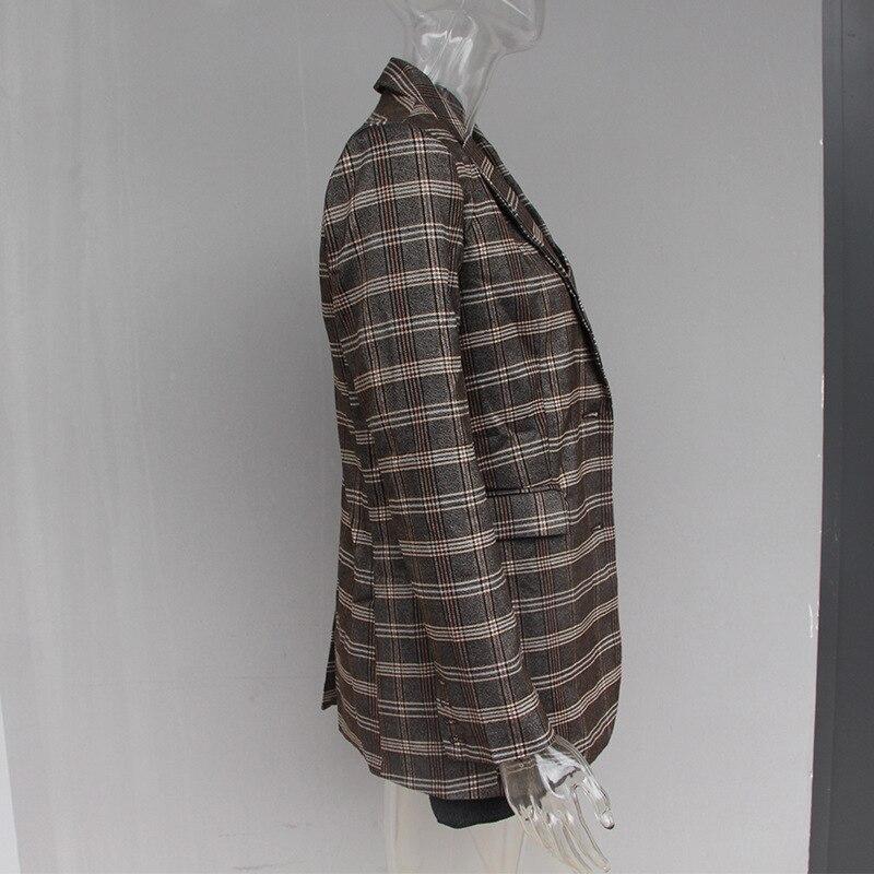 Unique Longues Patchwork Veste Outwear À Tricoté Femme Manteau Poitrine Manches Vêtements Check Plaid 2019 Ol Blazer Dames Printemps Okq110 Femmes rvr8AS