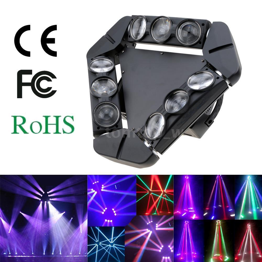 Disco KTV 90W 9LED RGBW Full Color DMX512 Sound Control 16/48 Channel Mini Triangle Spider Lamp Beam Stage Light For Club Party