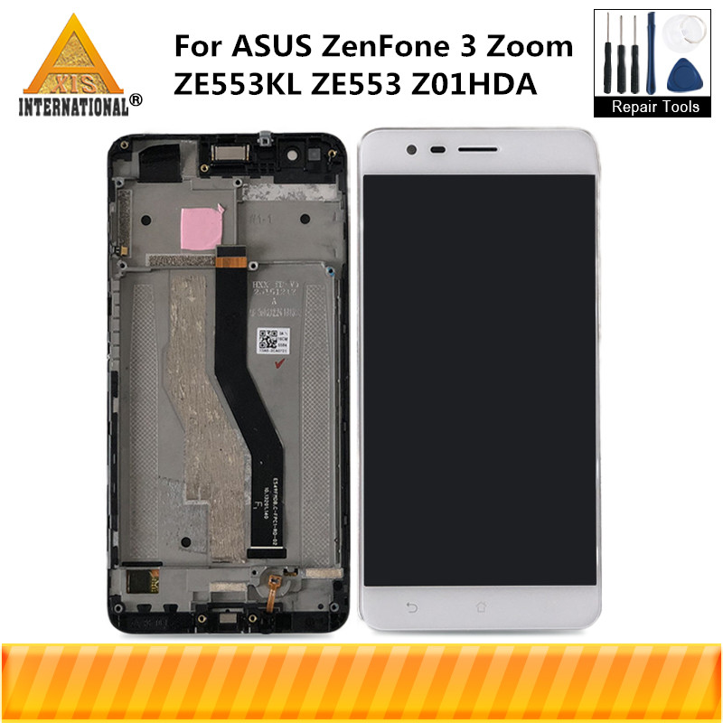 Axisinternational OLED For ASUS ZenFone 3 Zoom ZE553KL ZE553 Z01HDA LCD Screen Display With Frame Touch