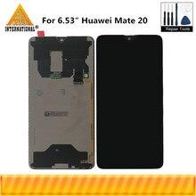 """Axisinternational original 6.53 """"para huawei companheiro 20 display lcd + digitador da tela de toque do painel para mate20 display assembléia"""