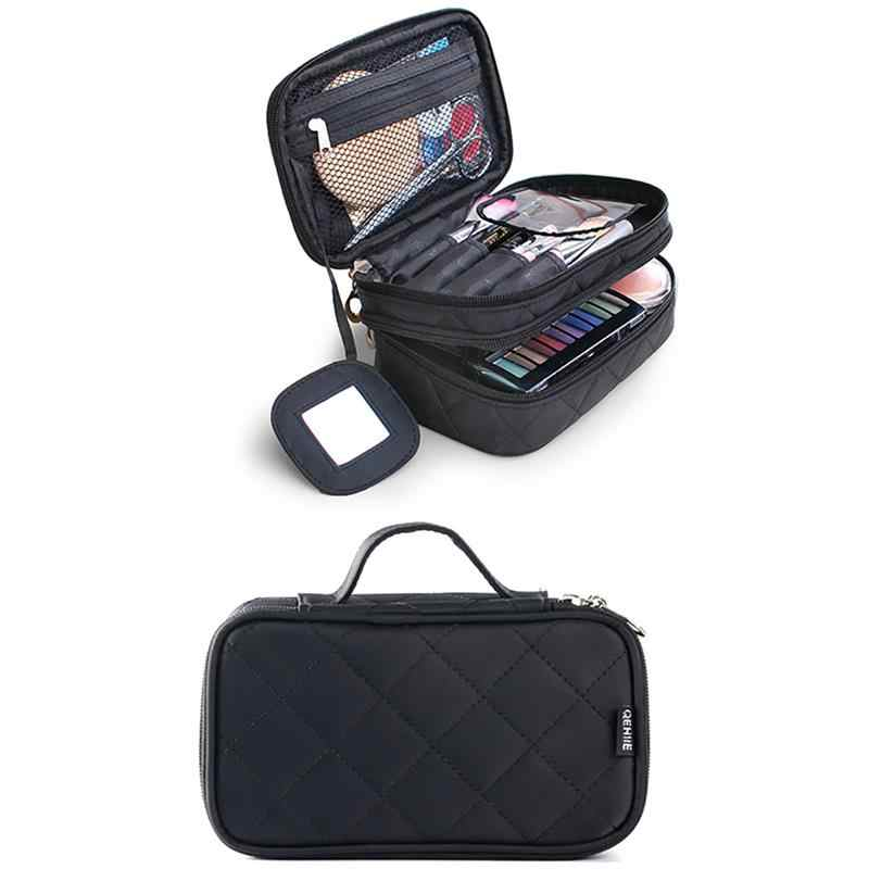 Fashion Compartment Organizer Bag Zipper Women Diamond Lattice Pattern Nylon Makeup Bag Ladies Girls Cosmetic Handbag