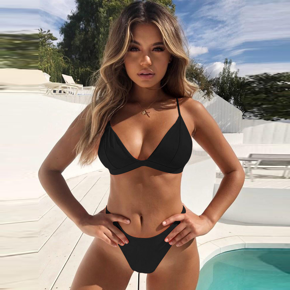 Hirigin Thong Bikini Set 2019 New Women Swimwear Pure Color Push Up Padded Swimsuit Biquini Women Bathing Suit Summer Beachwear