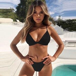 Hirigin Thong Bikini Set 2019 New Women Swimwear Pure Color Push Up Padded Swimsuit Biquini Women Bathing Suit Summer Beachwear