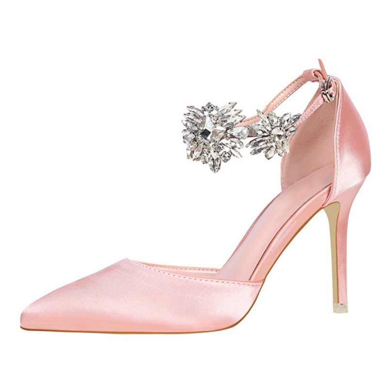 Elegant Rhinestone Flower High Heels Pumps Woman Stiletto Pointed Toe Buckle Strap Wedding Pumps Female Office Dress ShoesElegant Rhinestone Flower High Heels Pumps Woman Stiletto Pointed Toe Buckle Strap Wedding Pumps Female Office Dress Shoes