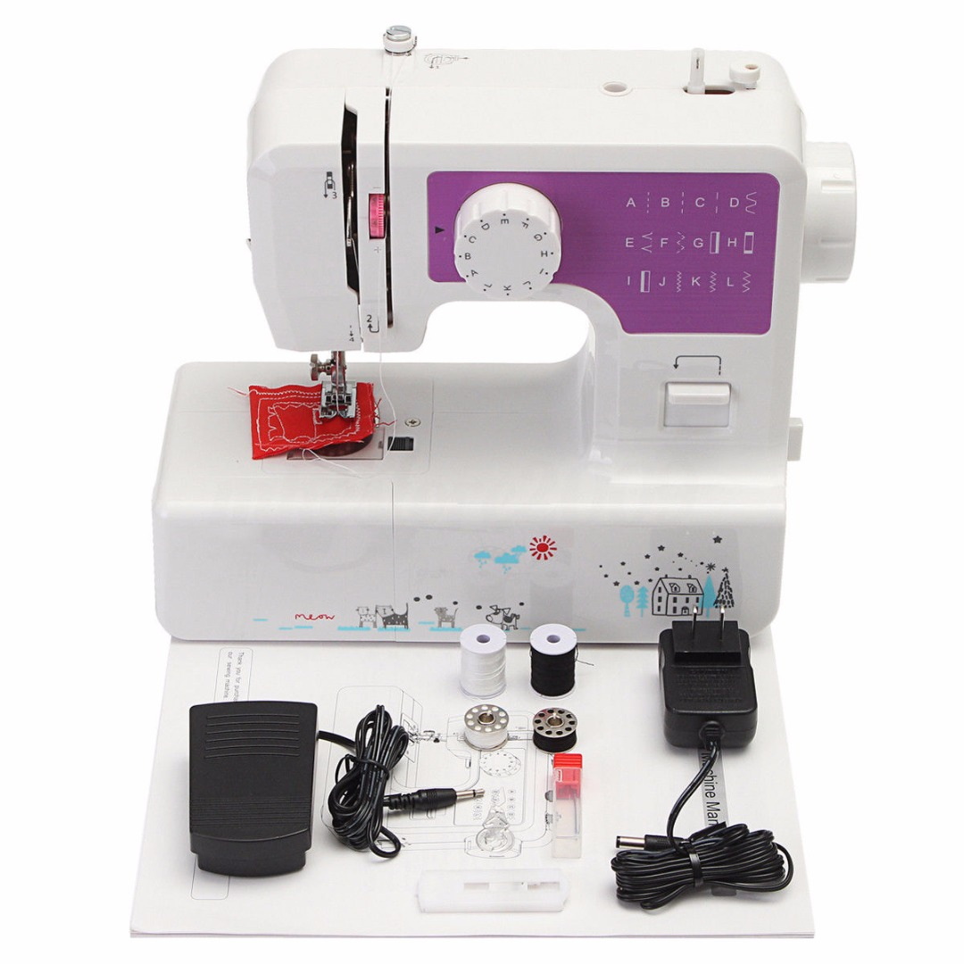 29*12*28cm  Mini 12 Stitches Sewing Machine Household Multifunction Double Thread And Speed Free-Arm Crafting Mending Machine