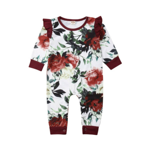 2019 Newborn Infant Baby Girl Floral   Romper   Jumpsuit Pullover Outfit Clothes 0-24M