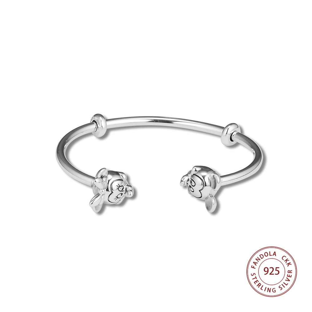 100 925 Sterling Silver Cuff Open Charms Bracelets Bangles for Women 925 Silver Mouse Cap Chain