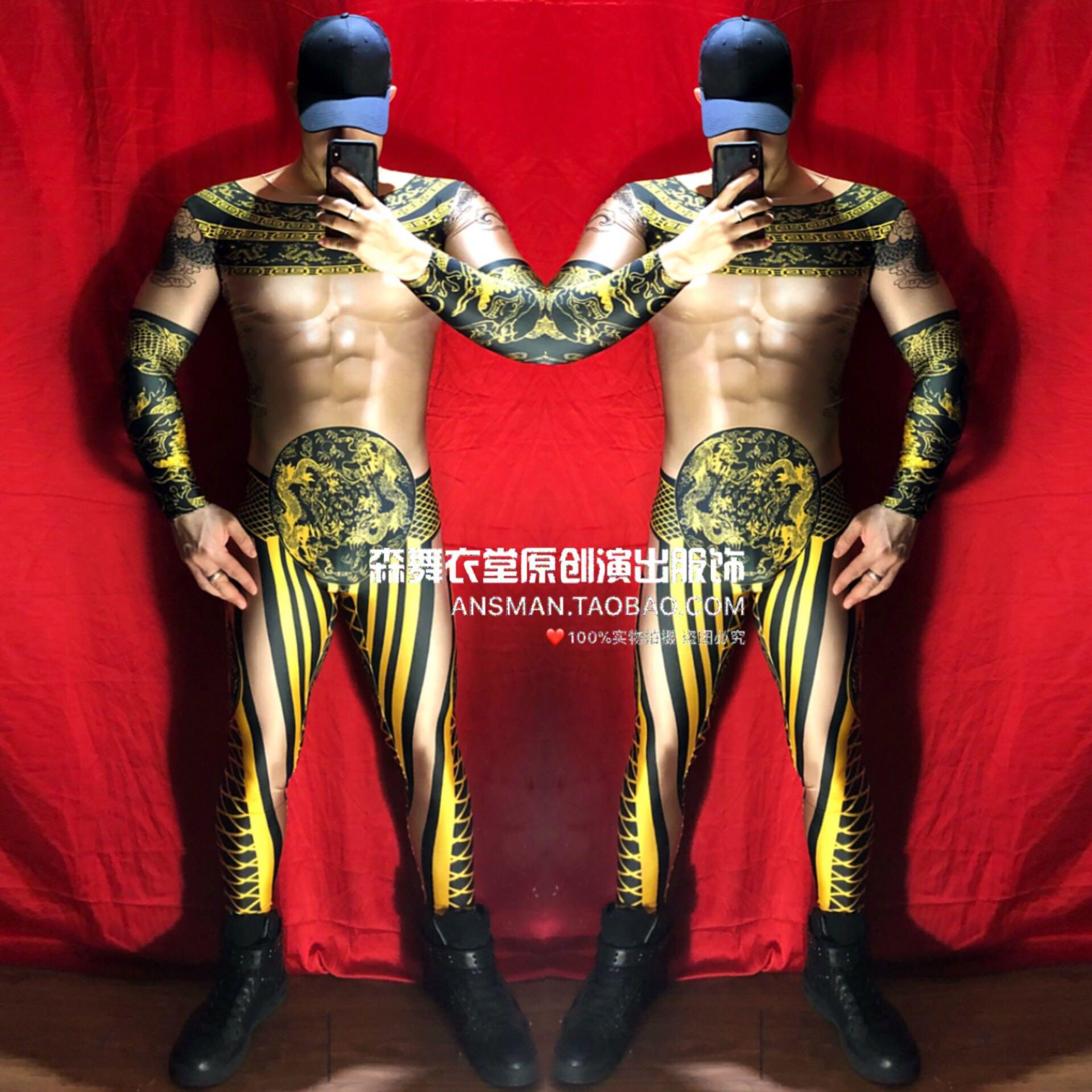 Bar Nachtclub Zanger Dj Ds Chinese Stijl Zwarte Goud Gewaad Heren Jumpsuit Nieuwjaar Thema Party 3d Spier Kostuum Hip Hop Broek Rijk En Prachtig
