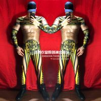 Bar nightclub male singer DJ DS Chinese style black gold robe Mens Jumpsuit New Year theme party 3D muscle costume Hip Hop Pants