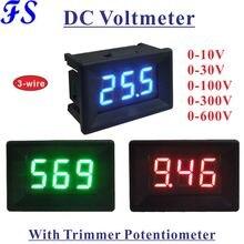 Цифровой светодиодный вольтметр YB21, постоянный ток 0-10 В, 30 В, 100 в, 300 В, 600 В, 3-проводной измеритель напряжения, вольтметр, панельный измерител...