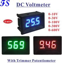 Voltmètre numérique YB21 LED, DC 0-10V 30V 100V 300V 600V, 3 fils, moniteur de tension, réglage fin