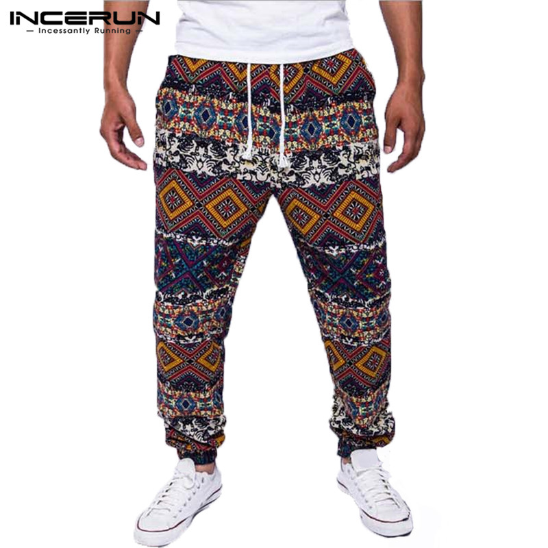 INCERUN Men's Pants Joggers Ethnic Style Print Drawstring Trousers Men Cotton Streetwear Loose Male Casual Pants Plus Size 2020