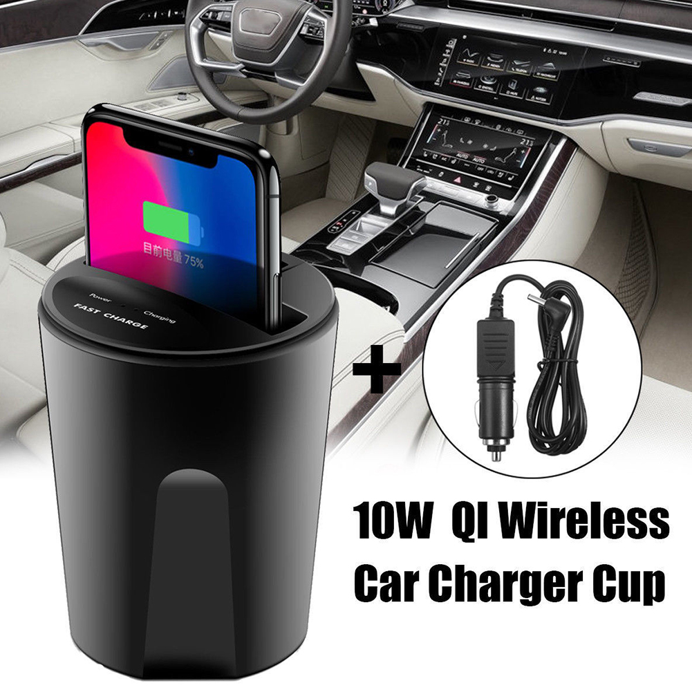 10W Wireless Qi Fast Car Charger Charging Cup Holder For