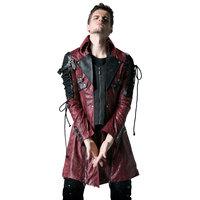 PUNK RAVE Mens Jackets and Coats Steampunk Military Uniform Casual Overcoats Gothic Retro Stage Style Faux Leather Long Coats