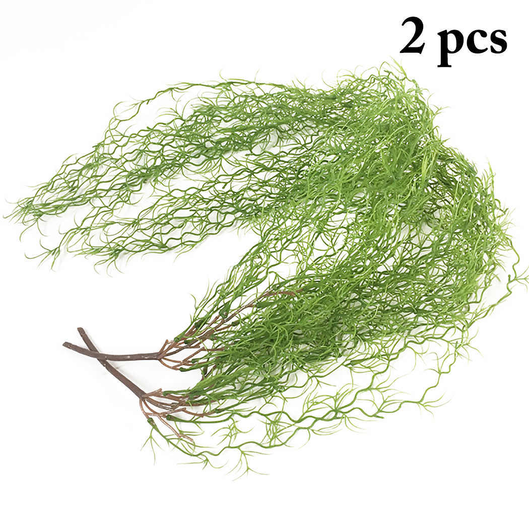 2PCS Artificial Plants Simulated Long Fake Grass Home Wall Decoration Green Plant Leaves Garden Artificial Grass Fake Plant Vine