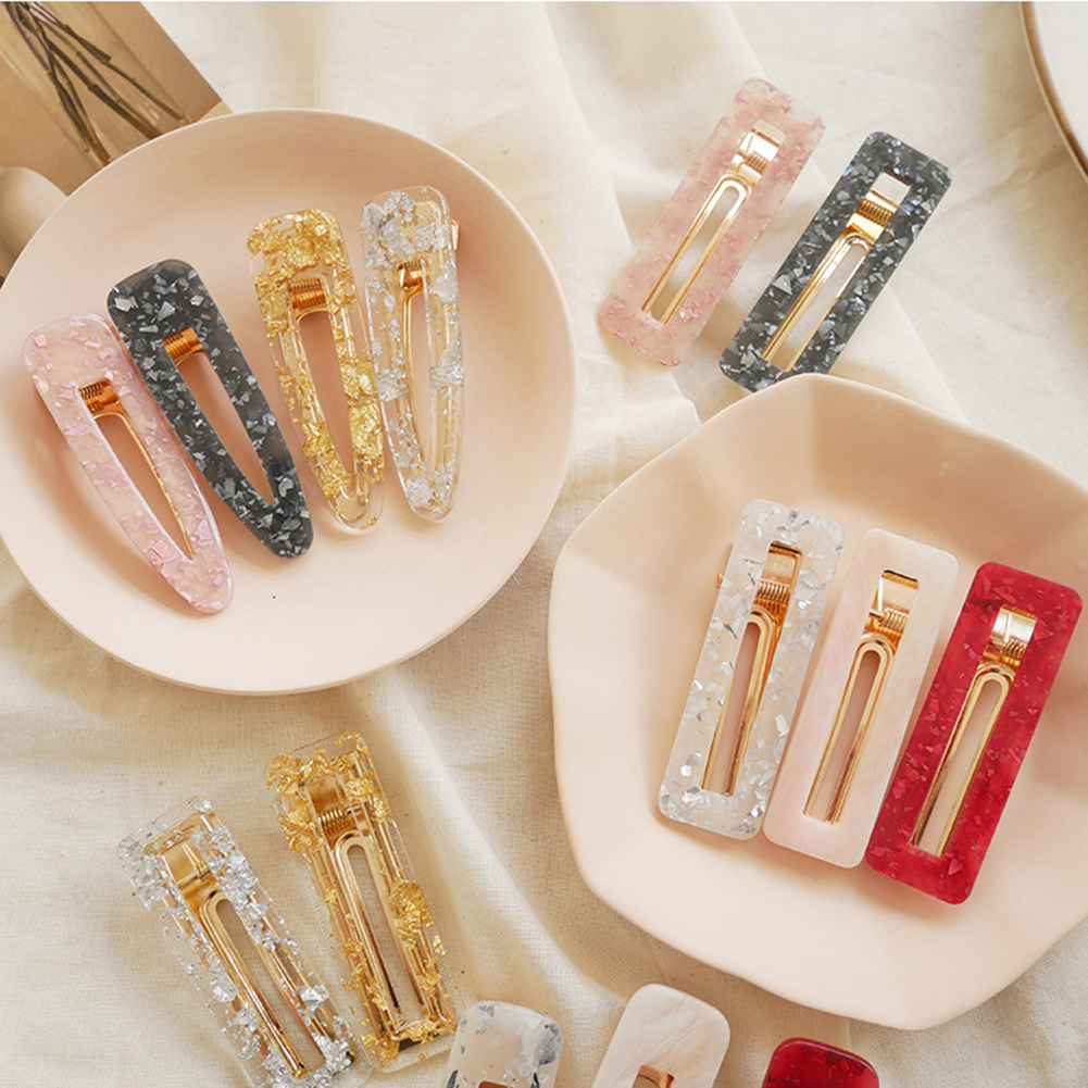 Fantasy Vintage Acrylic Hollow Waterdrop Rectangle Hairpins Women Girls Sweet Tin Foil Sequins Geometric Hair Clips Barrettes