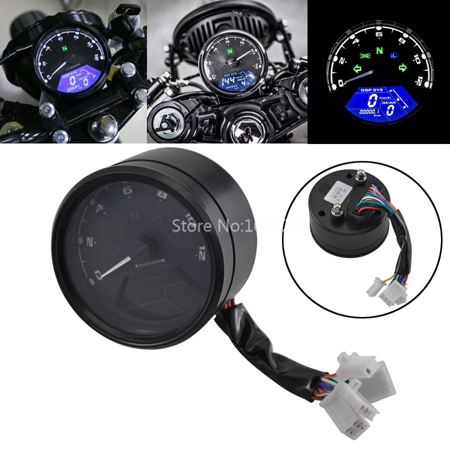 Multi function LCD Digital Odometer Tachometer Speedometer Universal Waterproof Gauge Fi for Cafe Racer Motorcycle 2