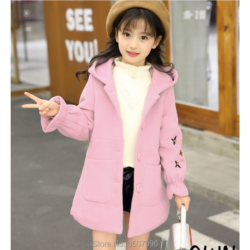 Kids Girl Overcoat Winter Fashion Wool Coat For Girls Mother Outwear Matching Jacket Student Thick Outwear Windproof Hood