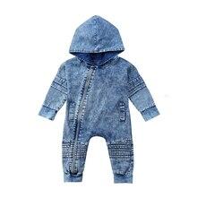 Newborn Kids Baby Boy Girl Denim Hoodies Romper Autumn New Long Sleeve Playsuit