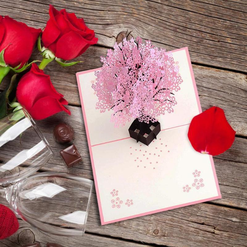 3D Pop Up Cards Handmade Romantic Cherry Blossoms Greeting ...