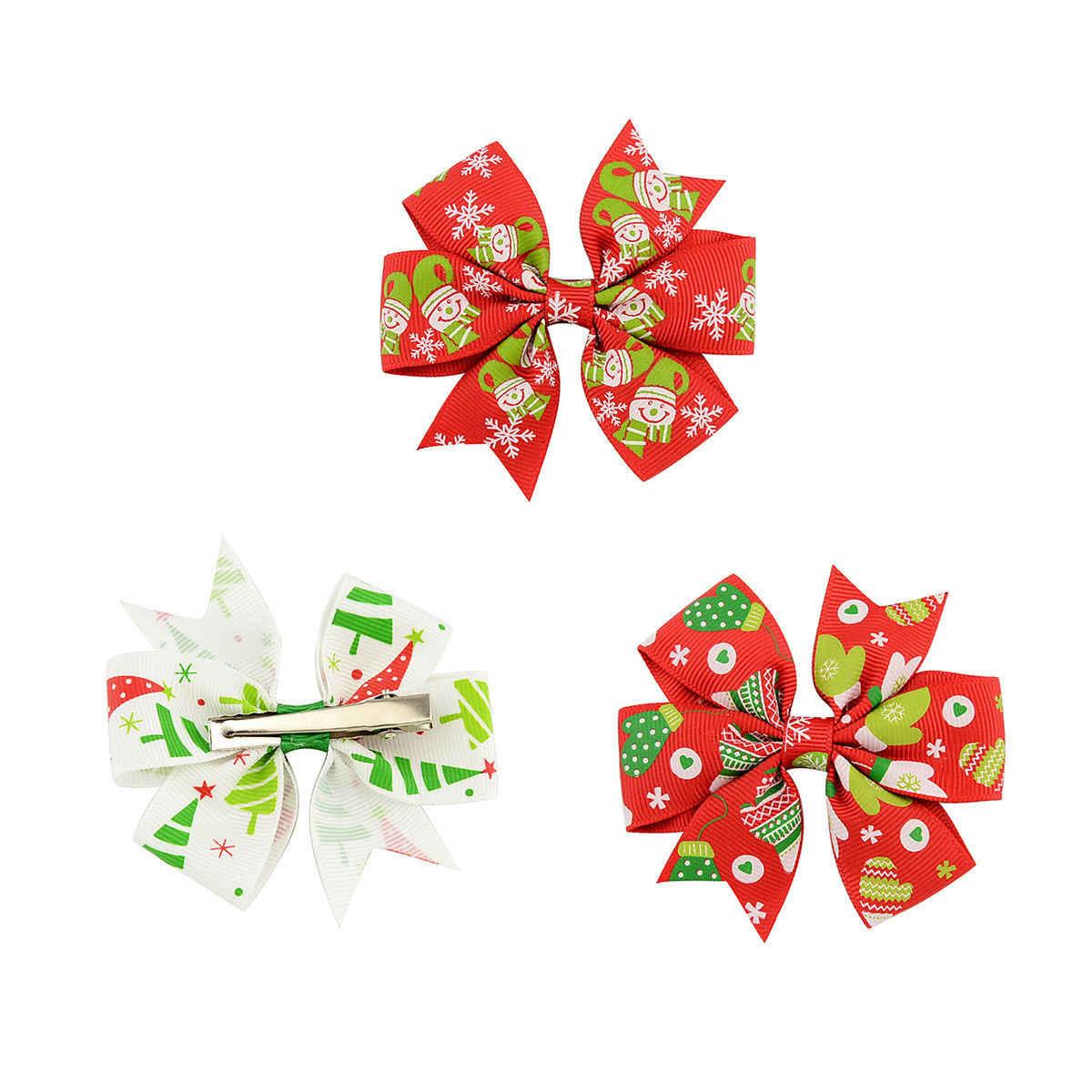 2018 חדש לגמרי בעבודת יד קשת שיער קליפ תנין קליפים ילדי בנות חג המולד סרט ילדים הצדדים אביזרי סנטה איש שלג שיער פין מתנות