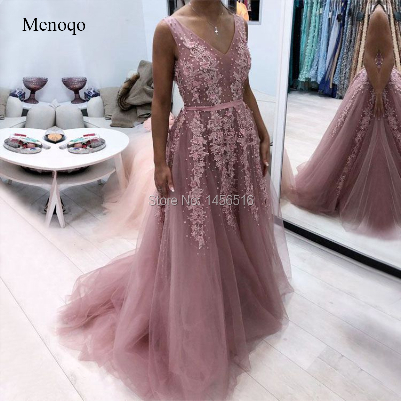Long Sexy   Prom     Dress   2019 New Arrival Sheer V-neck Beaded Applique abendkleider African Formal Women   Prom   Gown