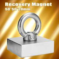50x50x20mm Recovery Magnet Cuboid Square Block Powerful Neodymium Recovery Magnet Metal Detector with Handle Ringscrew
