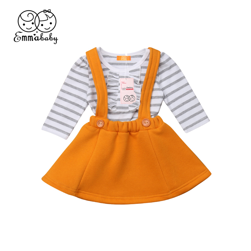 Little Girls Stripes Shirt <font><b>Bib</b></font> <font><b>Skirt</b></font> Clothes Set Newborn Baby Girl Ruffle Long Sleeve Top Solid Belt <font><b>Skirts</b></font> Outfit Clothing 0-3T image