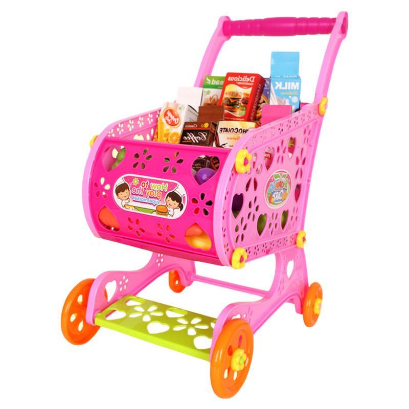 Kids Children Shopping Trolley Cart Plastic Fruit Simulation Shopping Carts Basket Play Toy Christmas Birthday Gift Car Toys