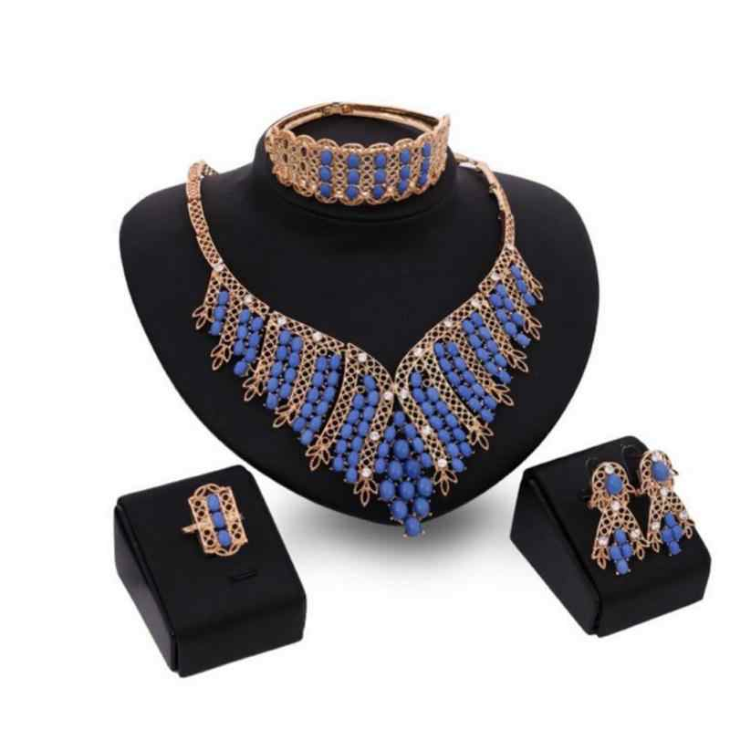 Великолепные женские свадебные ювелирные наборы искусственный жемчуг кристаллы листья ожерелье серьги, браслет, кольцо