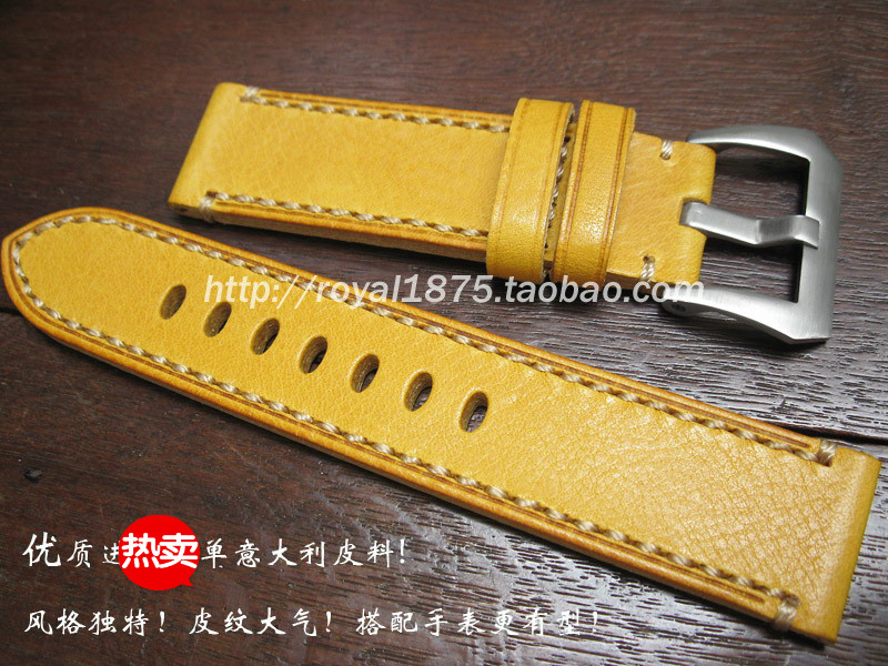 2019 high quality watch accessories 20 22mm Italian cow leather watchbands yello
