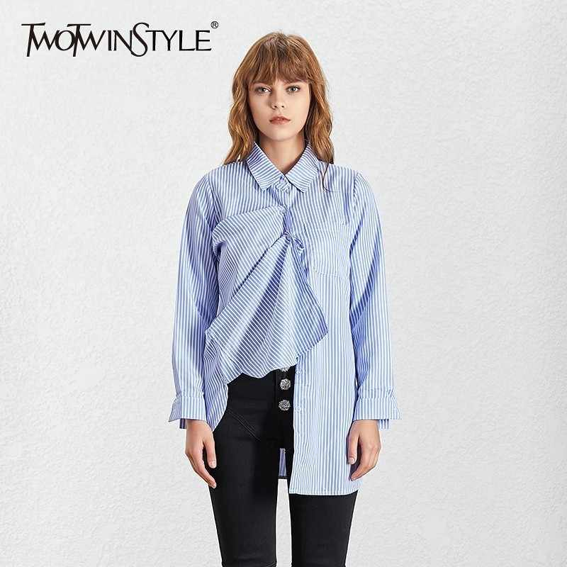 33f73c2ec60 TWOTWINSTYLE 4XL Striped Irregular Women's Blouses Shirts Long ...