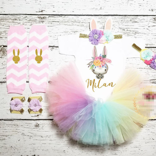 Enthousiast 4 Stks Pasen Kleding Peuter Kids Baby Meisjes Bunny Romper Tutu Tule Rok Jurk Beenwarmers Baby Birthday Party Outfits