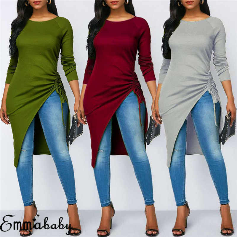 Fashion Women Blouse Long Sleeve Asymmetrical Hem Shirts Casual Tops Three Color
