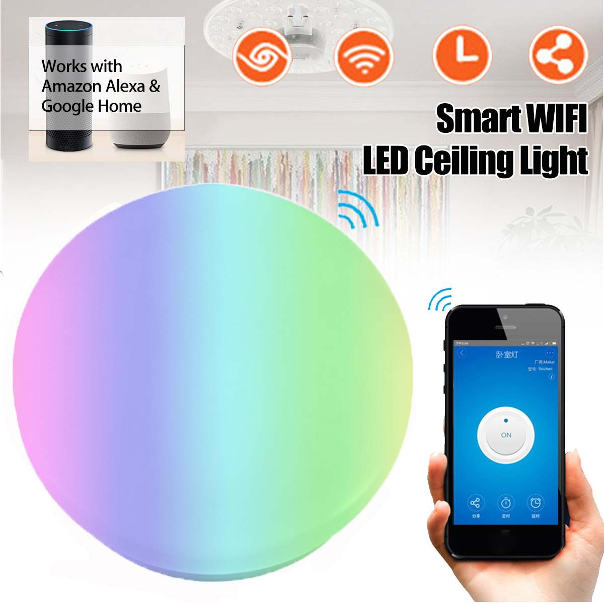 Modern LED Wifi Wireless Ceiling Lights 48W RGB+W E27 B22 Dimmable Indoor Smart Ceiling Lights Work with Alexa Google HomeModern LED Wifi Wireless Ceiling Lights 48W RGB+W E27 B22 Dimmable Indoor Smart Ceiling Lights Work with Alexa Google Home