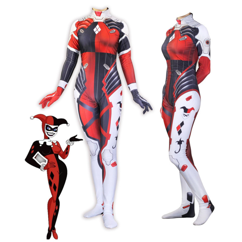 3D imprimé Suicide Squad Harley Quinn D. Va Hana chanson peau Zentai Dva Cosplay Costumes Lycra Spandex Halloween body Costume