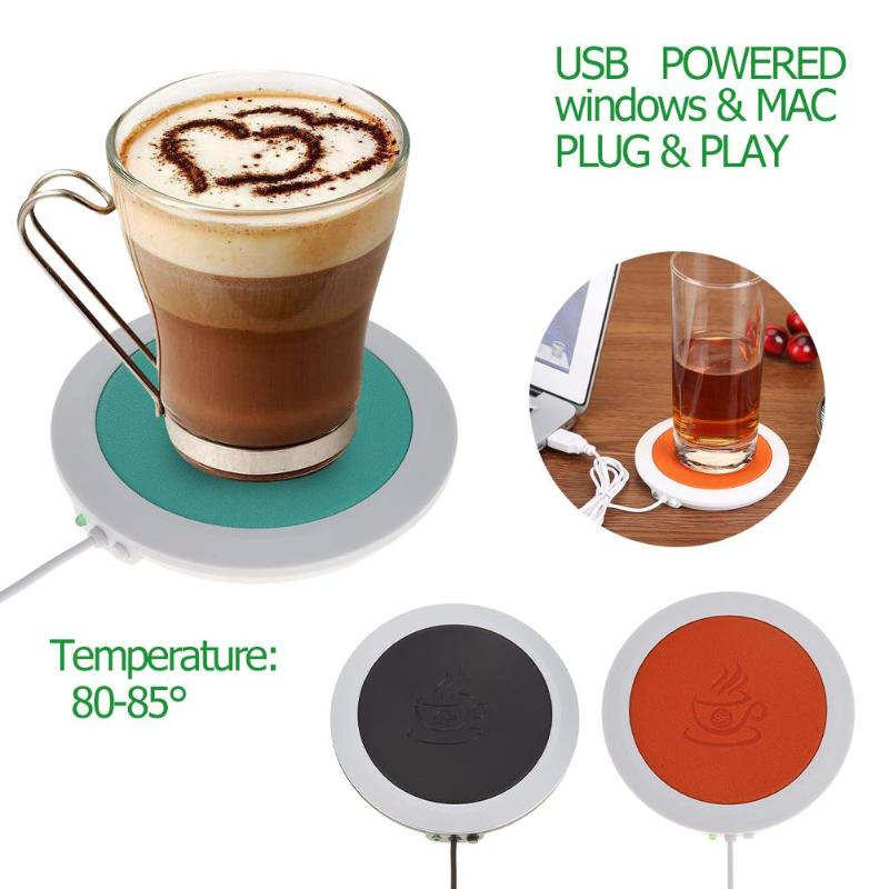 PU Heat-resistant Electric Insulation Coaster USB Warm Cup Mat Heating Device Coffee Tea Cup Warmer Pad Mat For Office Home