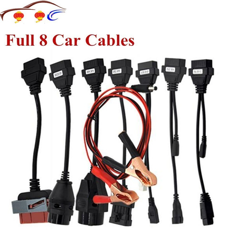 <font><b>Adapter</b></font> Cables For TCS Pro <font><b>OBD2</b></font> OBDII Cars Diagnostic Interface Tool Full <font><b>Set</b></font> 8 Car Cables ForDs150 Pro Cable image