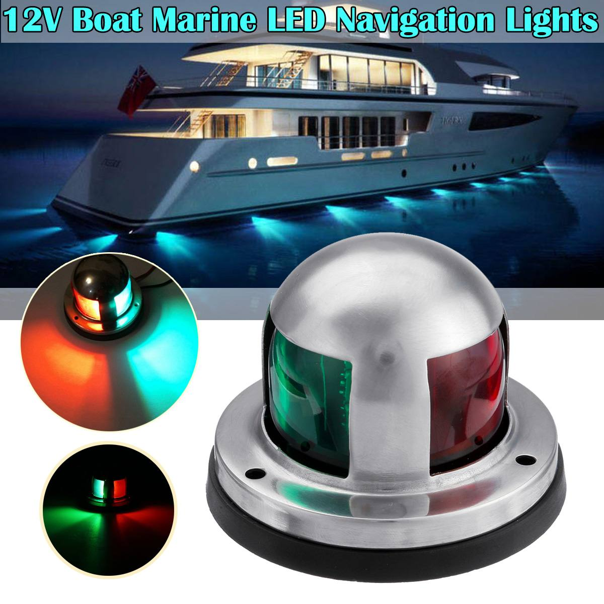 Boat Light LED 12V Stainless Steel Navigation Light Red Green Sailing Signal Light For Marine Boat Yacht Accessories