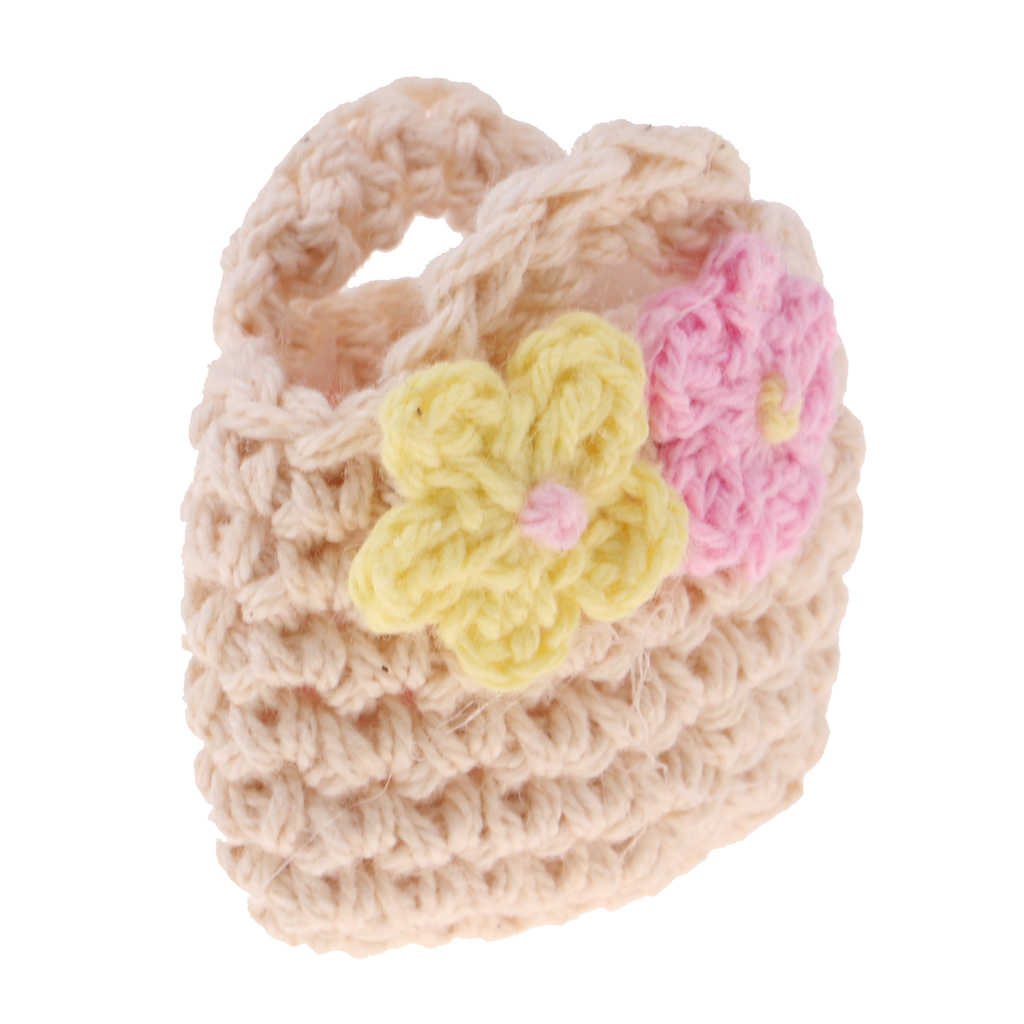 Bonito bege bonito de malha bolsa saco pequenas flores adicionadas para blythe boneca 1/6 bjd licca acessório boneca roupas colocação