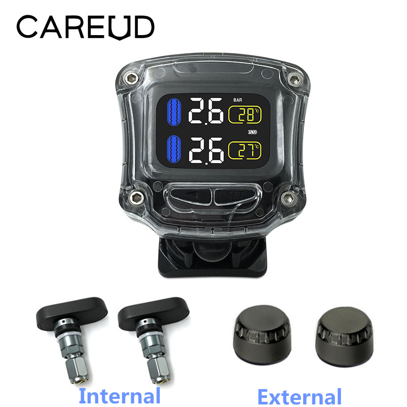 CAREUD Waterproof Motorcycle Real Time Tire Pressure Monitoring System TPMS Wireless LCD Display Internal External For Motor