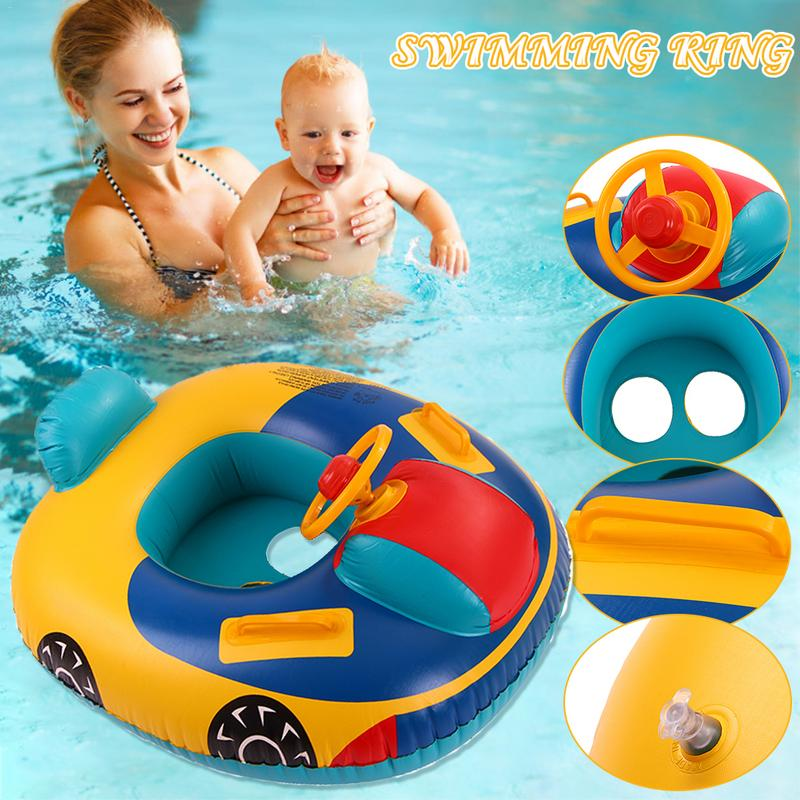 Baby Kids Summer Swimming Pool Ring Inflatable Swan Swim Float Water Fun Pool Toys Swim Seat Boat For 3-6Y