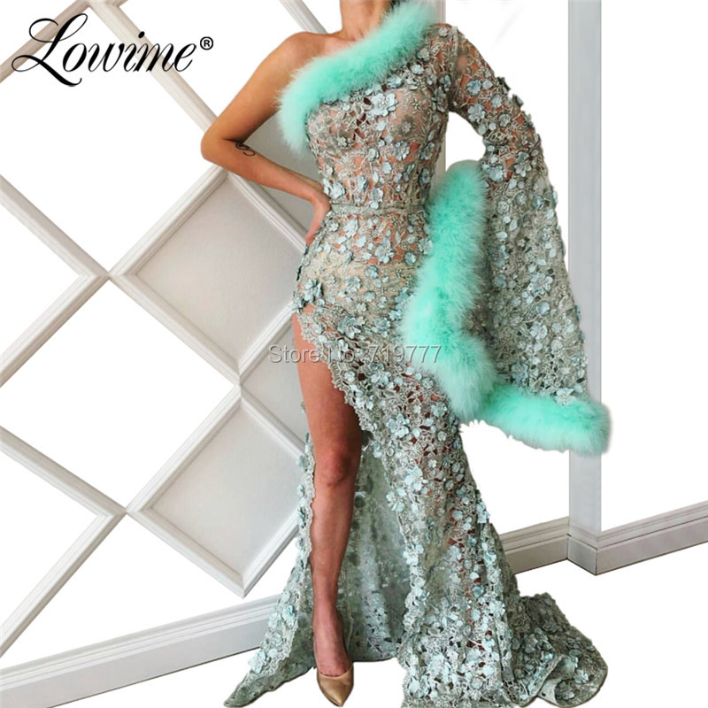 Feather Kaftans One Shoulder Evening   Dress   2019 Lace Pageant Party Gowns Puffy Sleeves Long   Prom     Dresses   Abendkleider Abiye